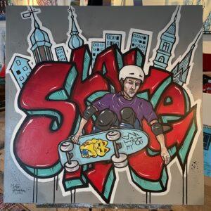 Graffitiinspirerad målning med en skateåkare.